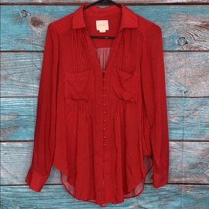 Anthropologie Maeve Red Dot Blouse Top Small